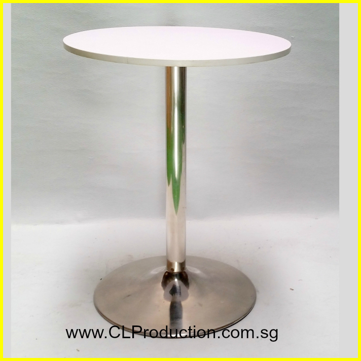 Bt13 Round White Black Top Bar Table With Round Base